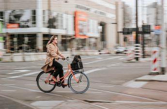 lady commuting by bicycle